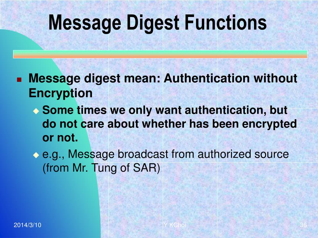Message Digest Functions