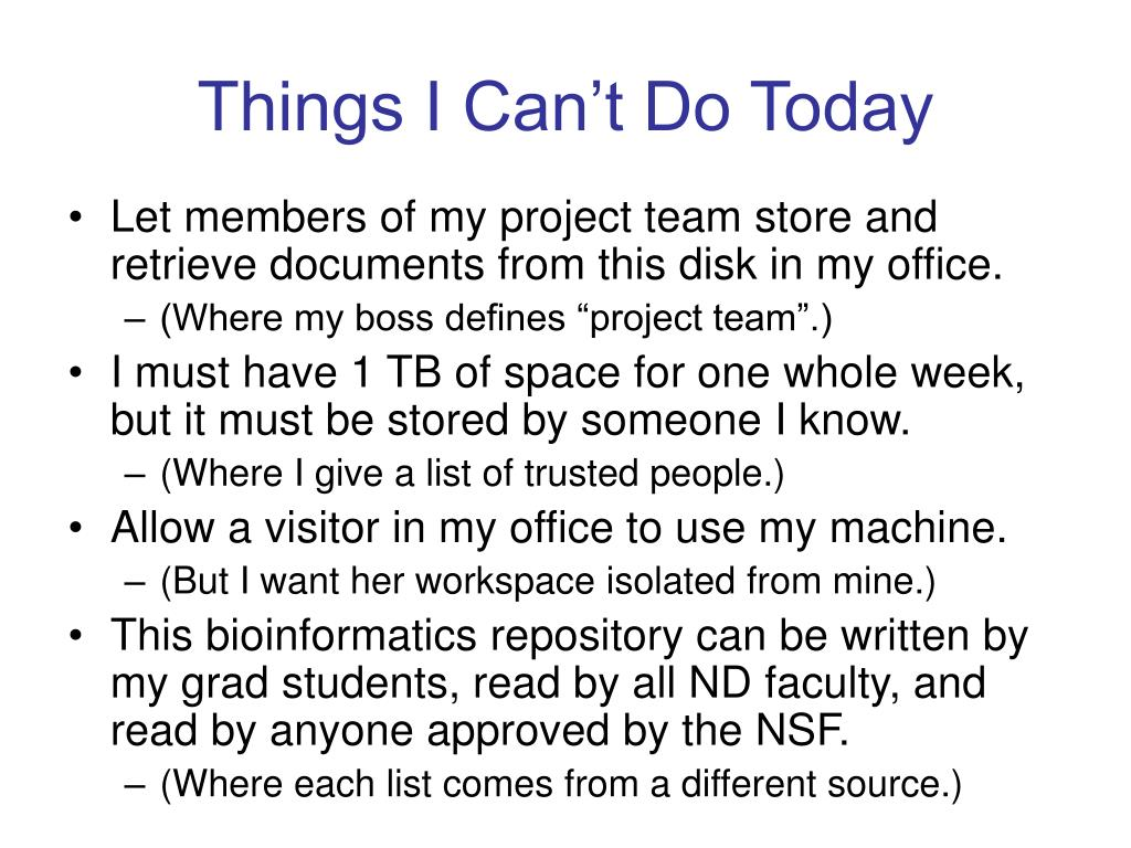 Things I Can't Do Today