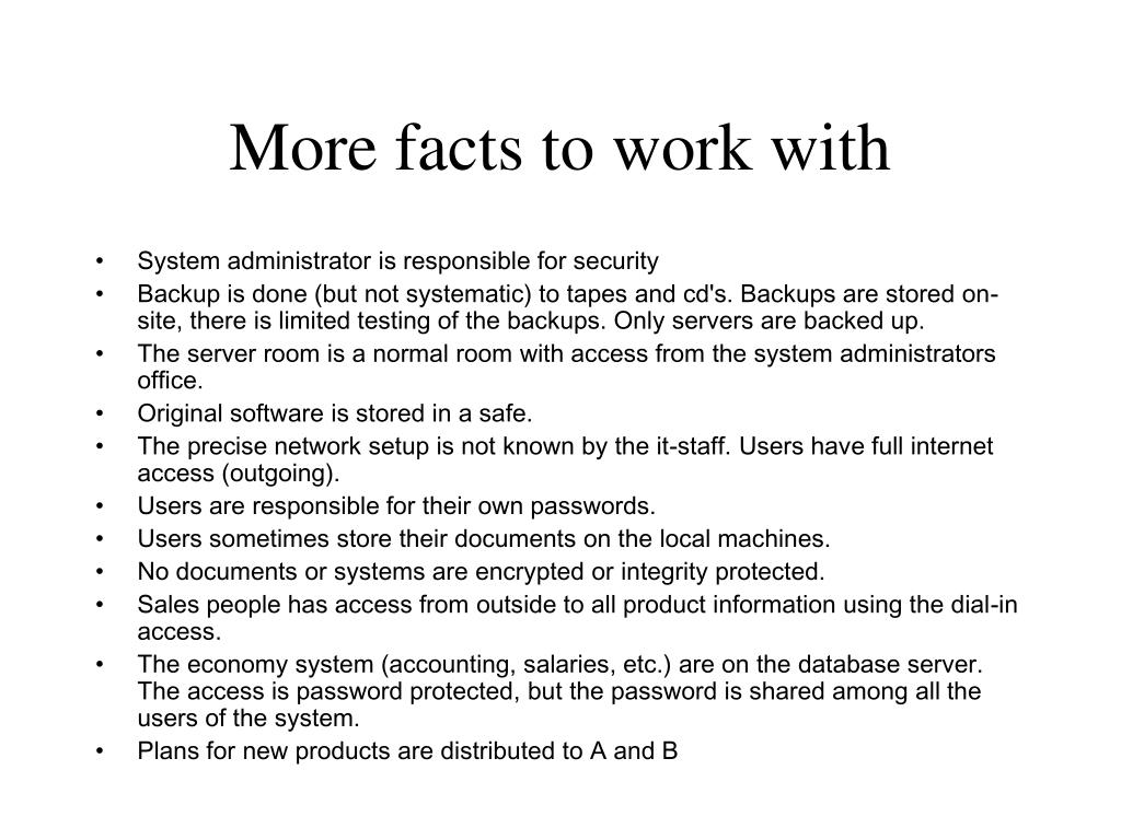 More facts to work with