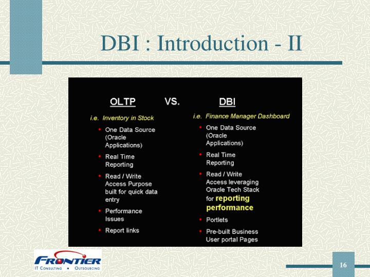 DBI : Introduction - II