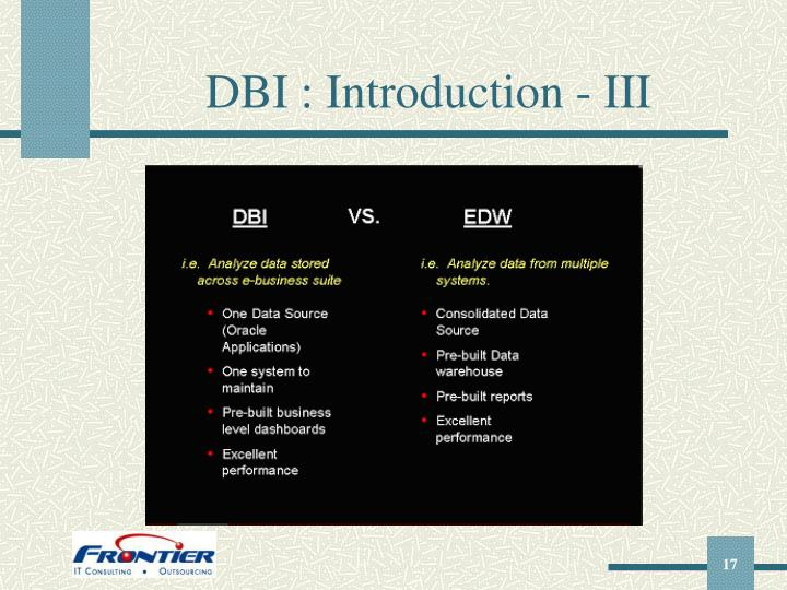 DBI : Introduction - III