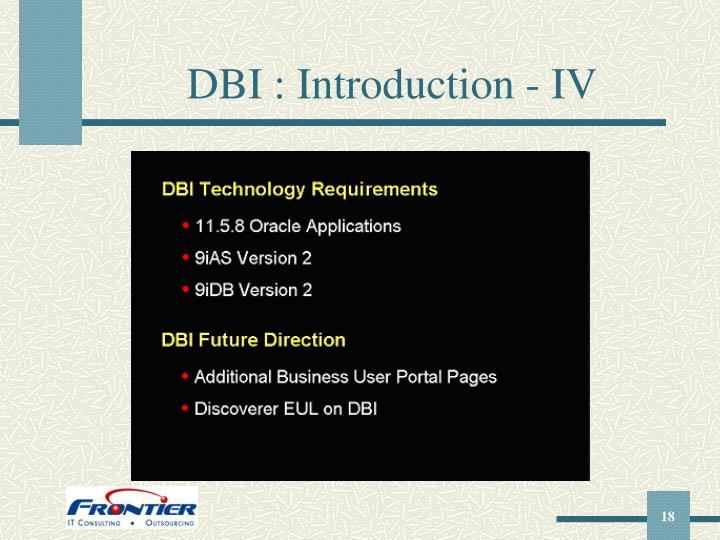 DBI : Introduction - IV