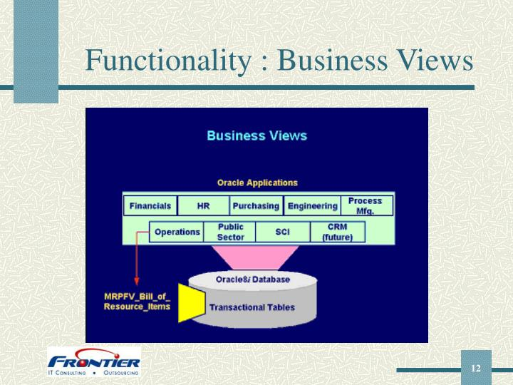 Functionality : Business Views