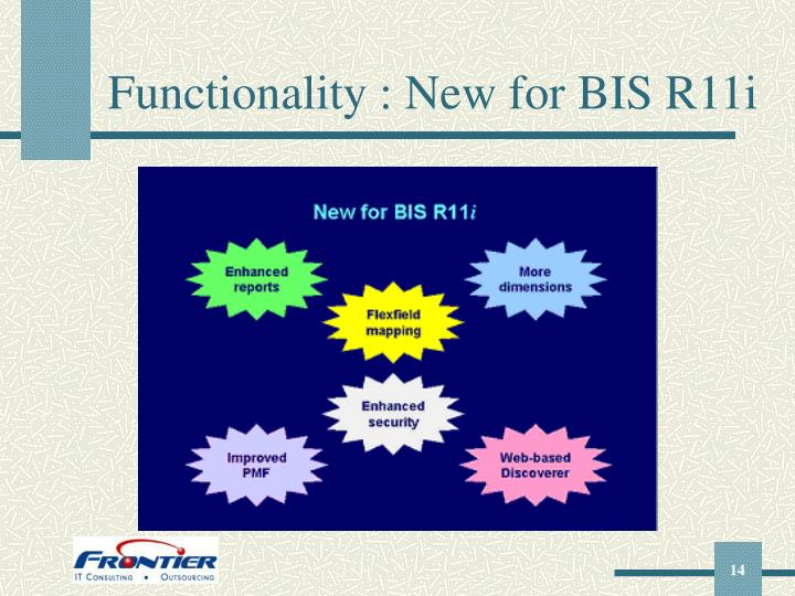 Functionality : New for BIS R11i
