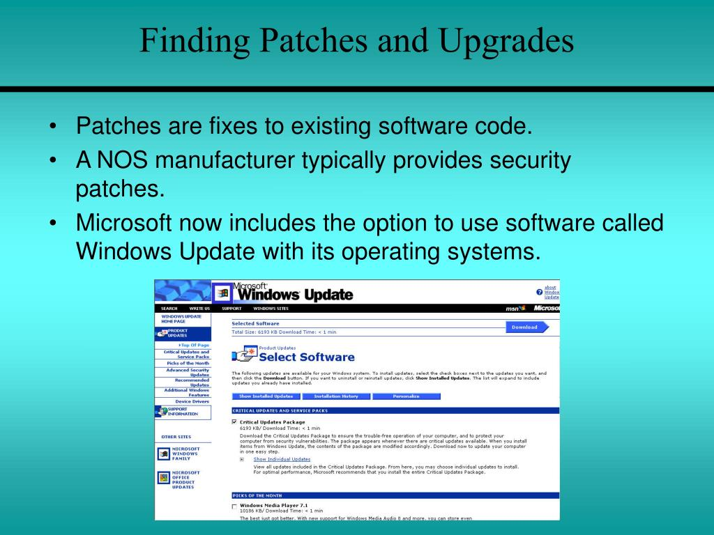 Finding Patches and Upgrades