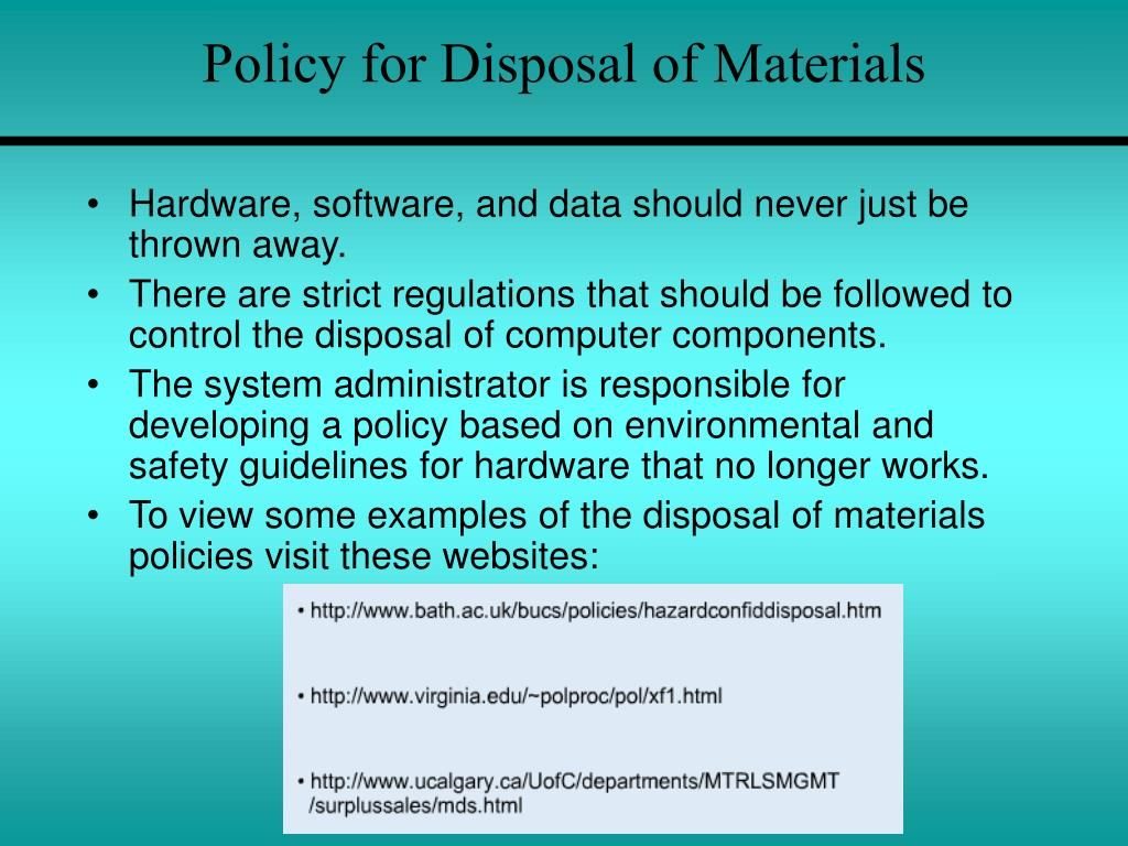 Policy for Disposal of Materials