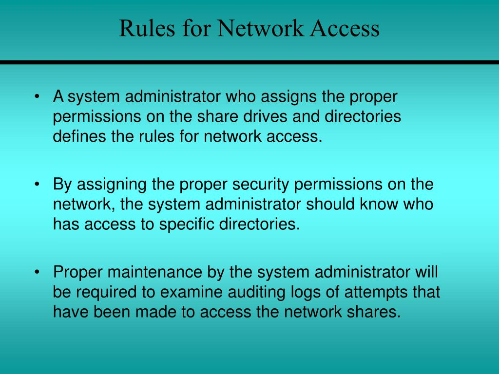 Rules for Network Access