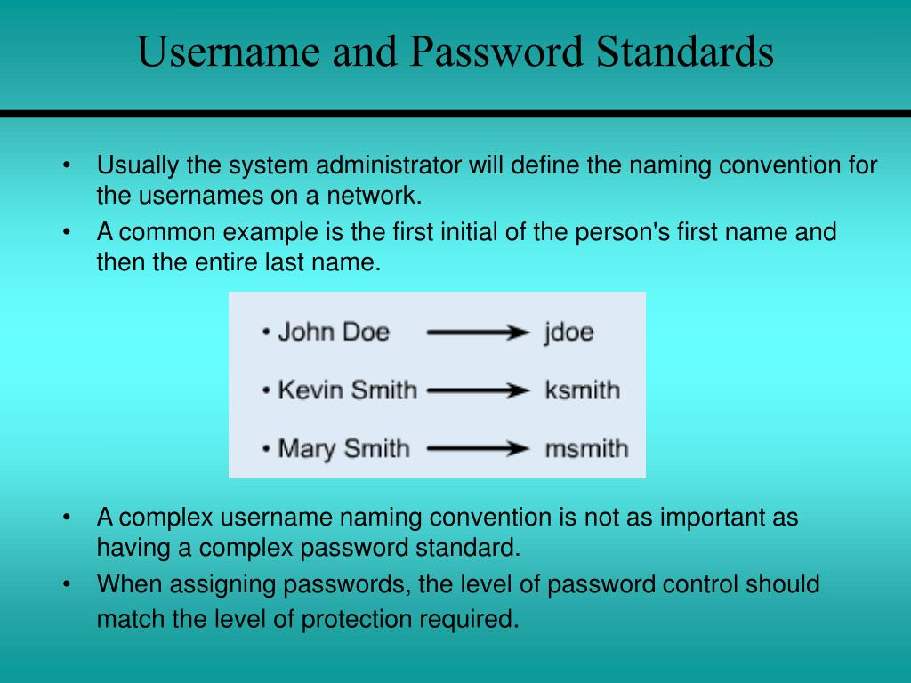 Username and Password Standards