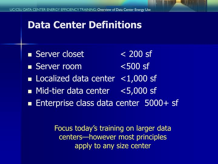 Data center definitions