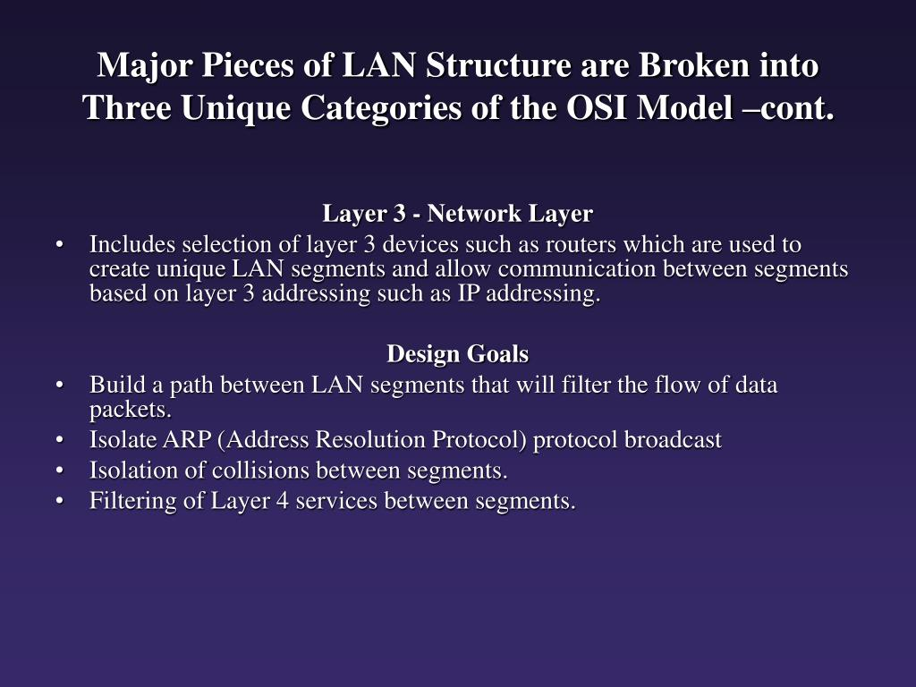 Major Pieces of LAN Structure are Broken into Three Unique Categories of the OSI Model –cont.