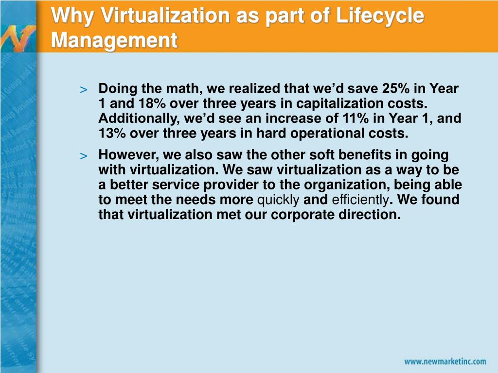Why Virtualization as part of Lifecycle Management