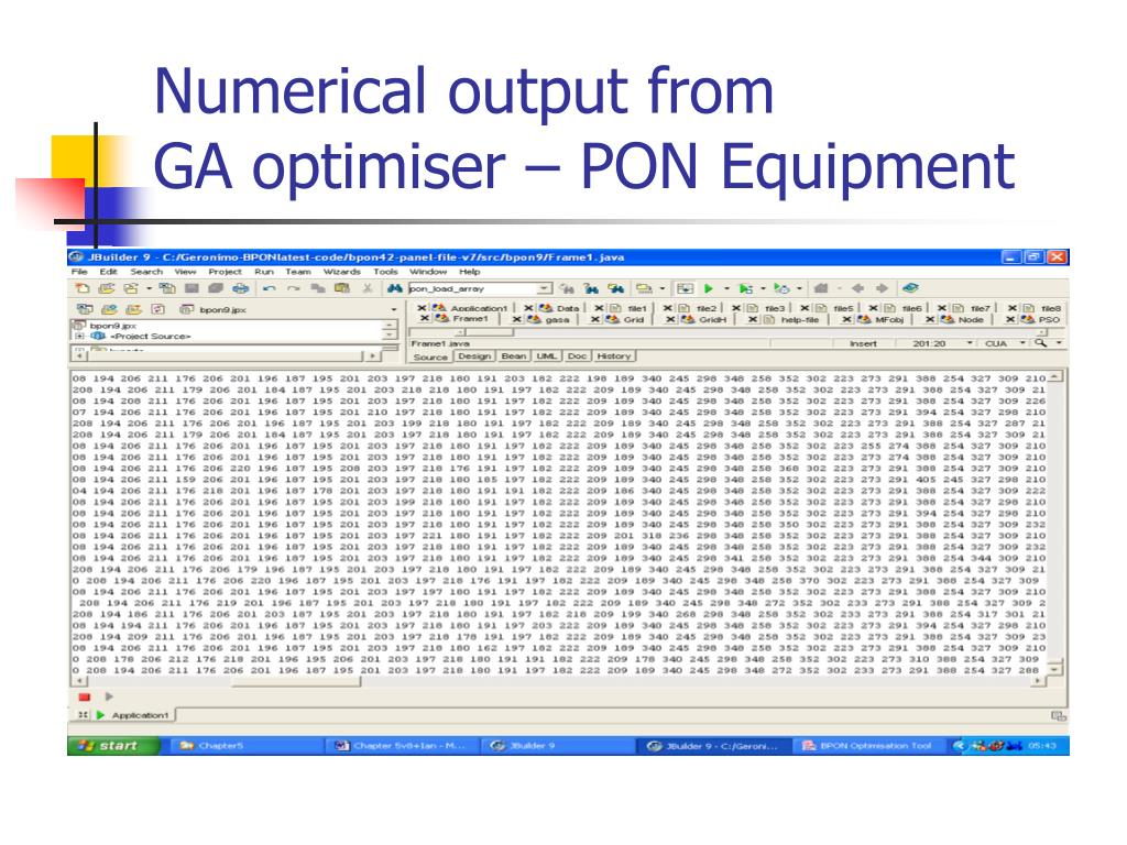 Numerical output from