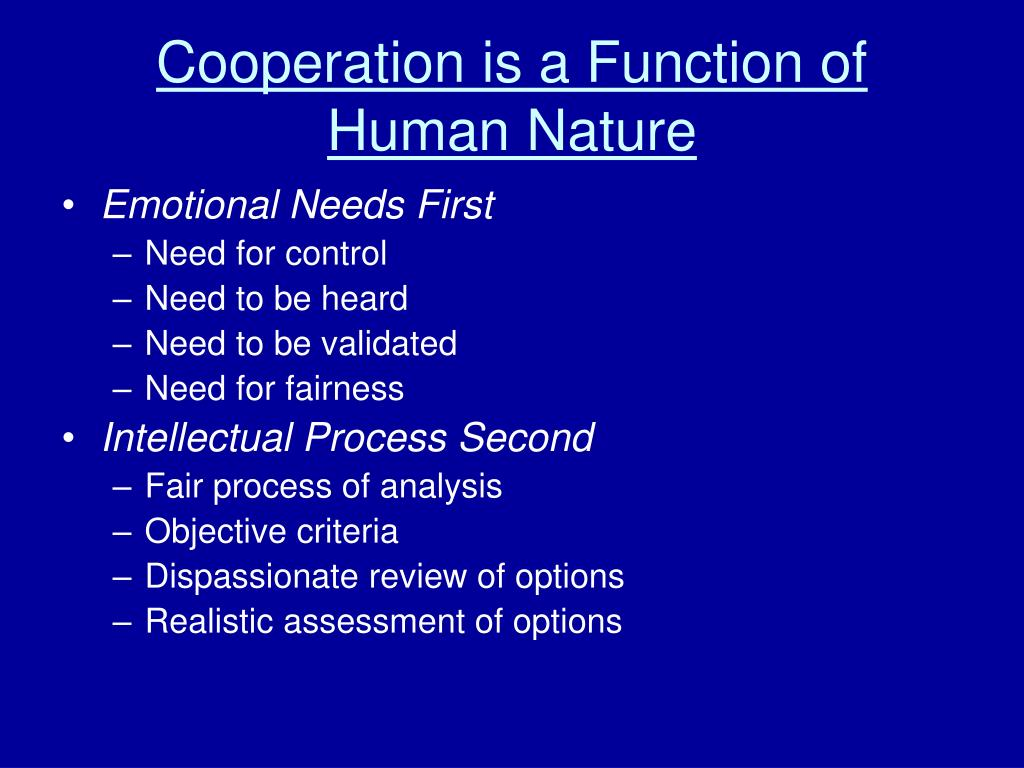Cooperation is a Function of Human Nature