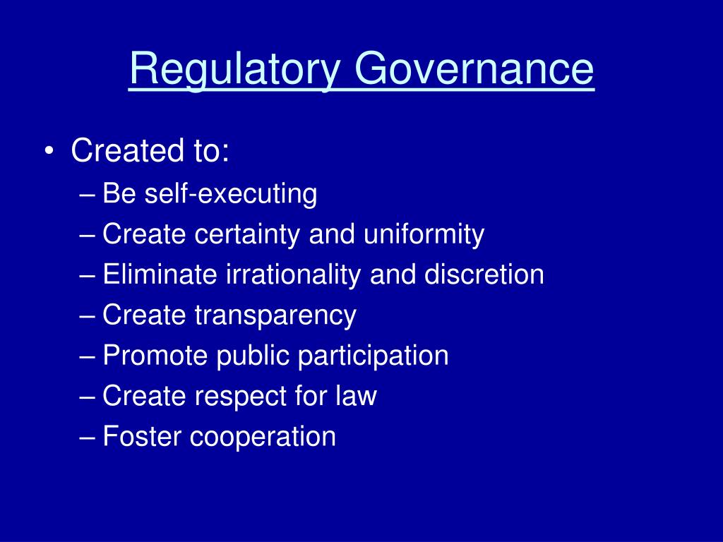 Regulatory Governance
