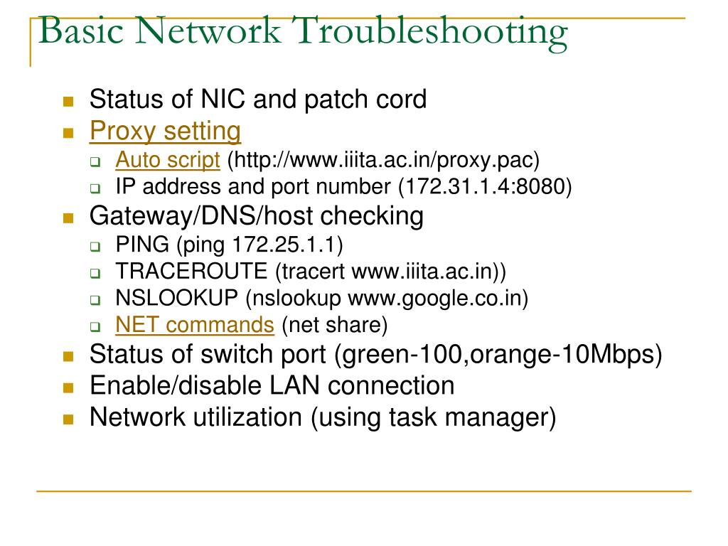 Basic Network Troubleshooting