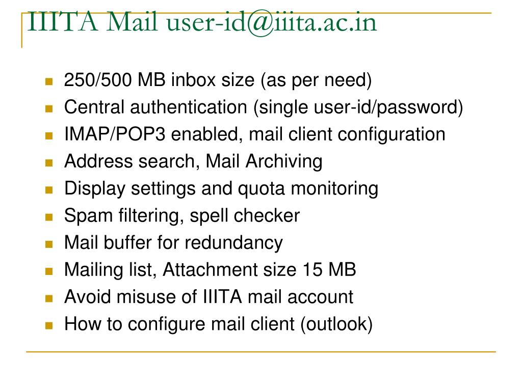 IIITA Mail user-id@iiita.ac.in