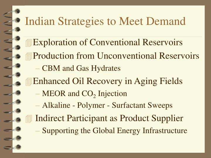 Indian strategies to meet demand