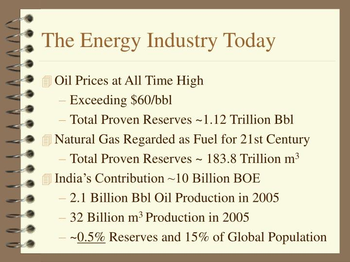 The energy industry today