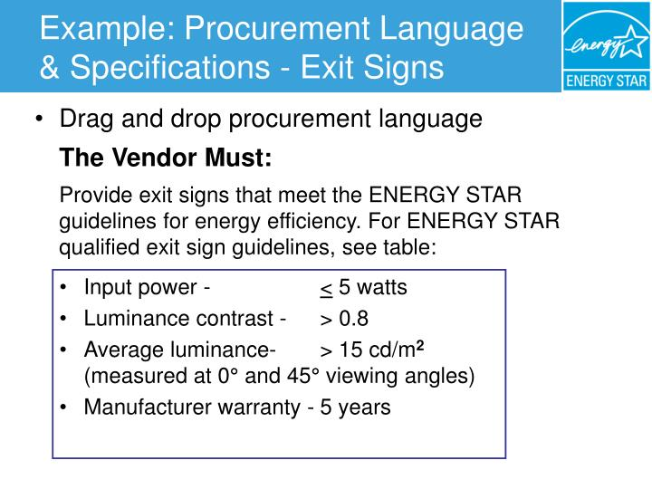 Example: Procurement Language & Specifications - Exit Signs