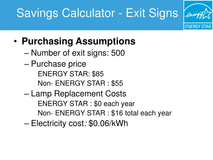 Savings Calculator - Exit Signs