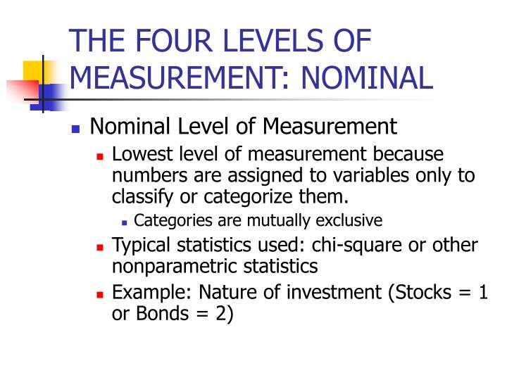 THE FOUR LEVELS OF MEASUREMENT: NOMINAL