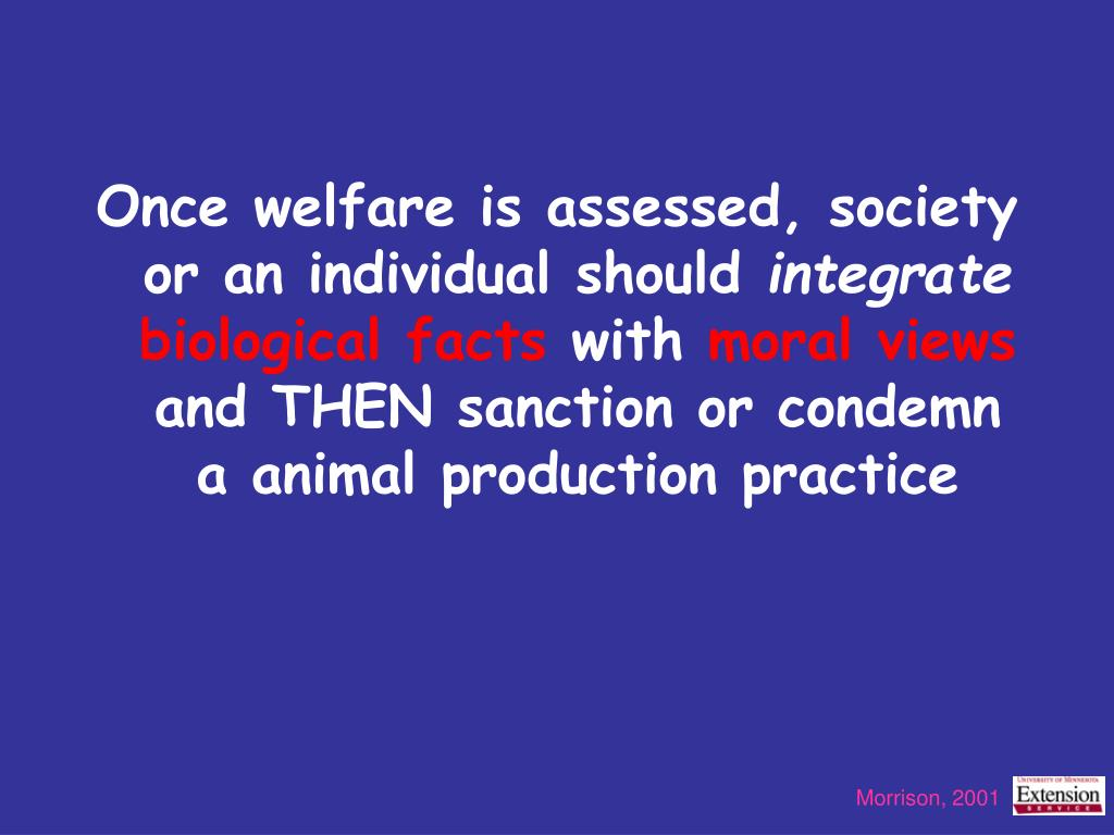 Once welfare is assessed, society or an individual should