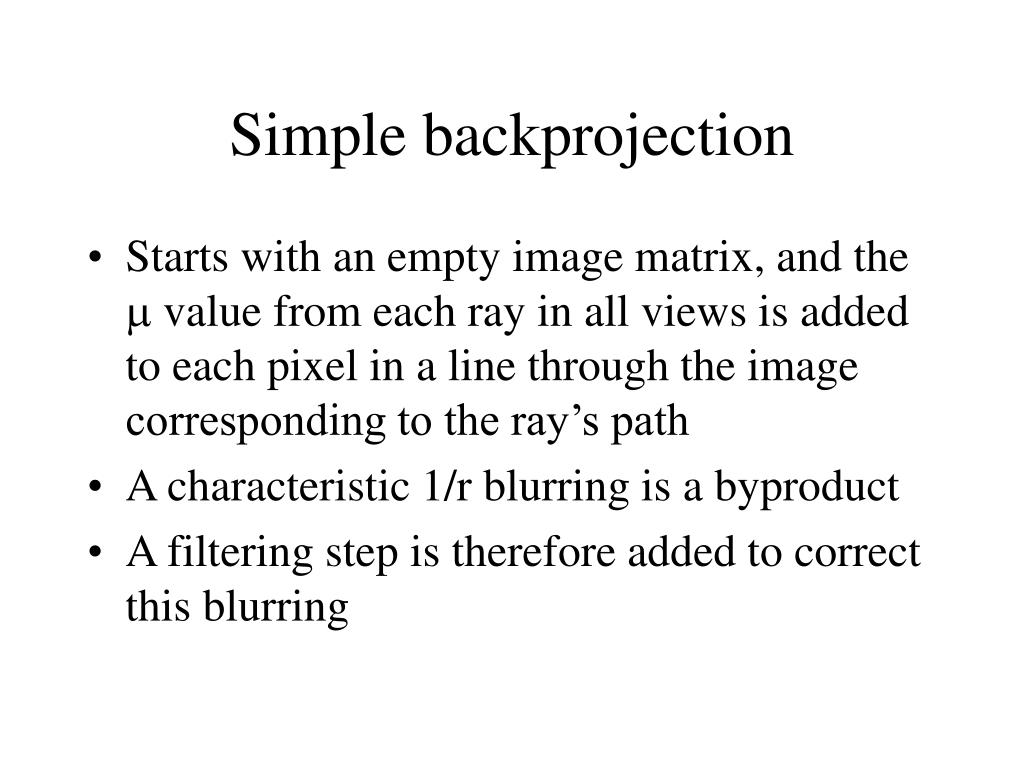 Simple backprojection