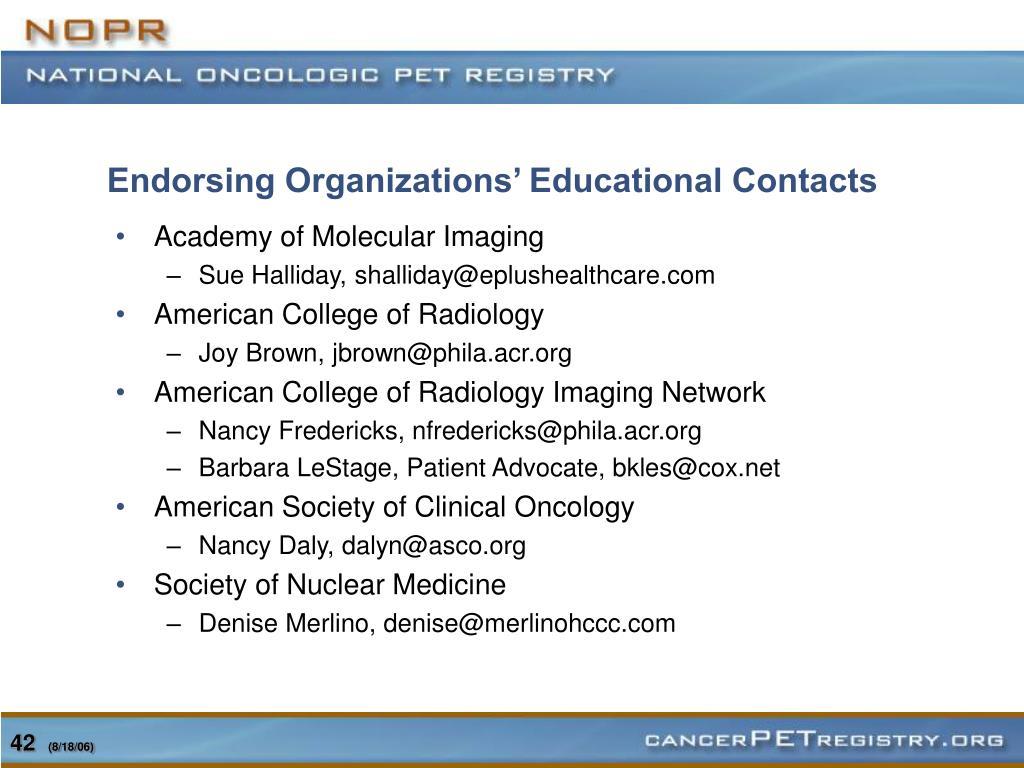 Endorsing Organizations' Educational Contacts