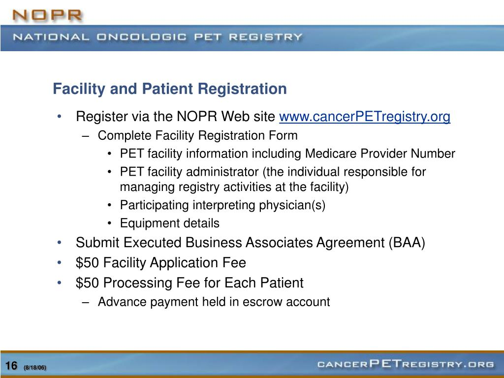 Facility and Patient Registration