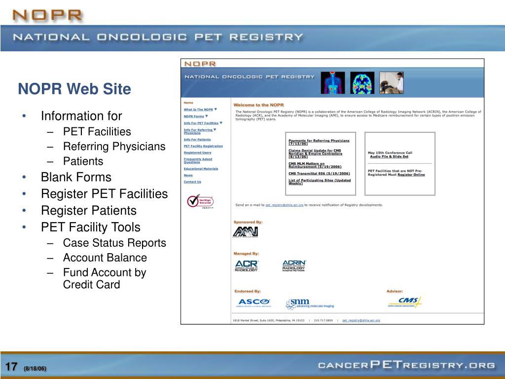 NOPR Web Site