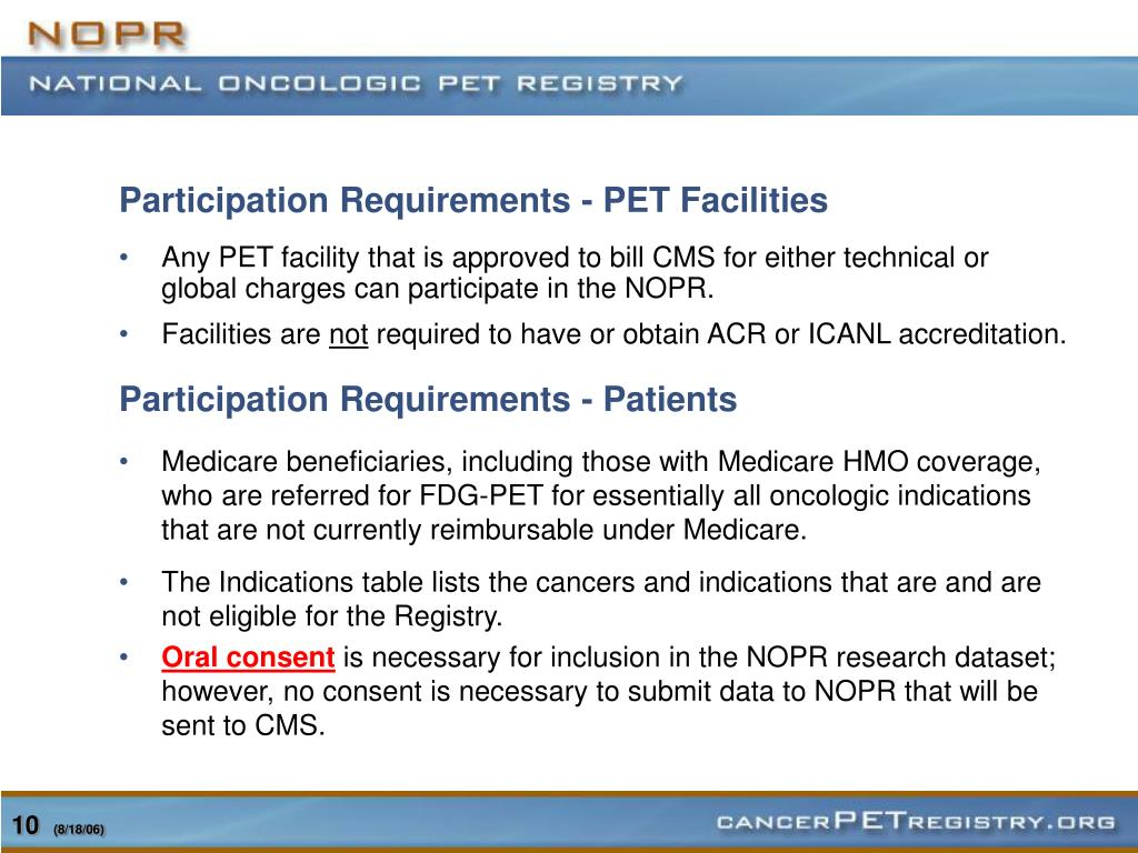 Participation Requirements - PET Facilities