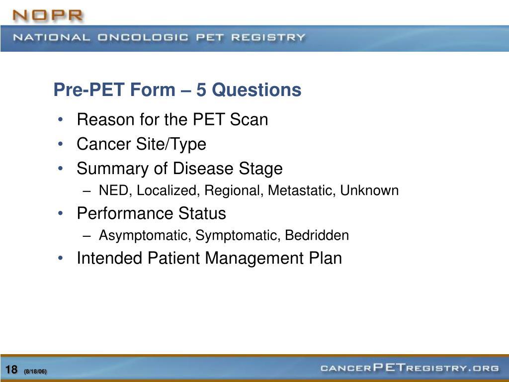 Pre-PET Form – 5 Questions