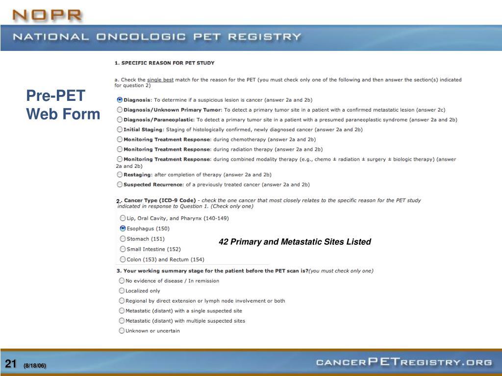 Pre-PET Web Form