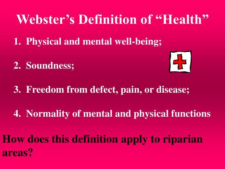 "Webster's Definition of ""Health"""