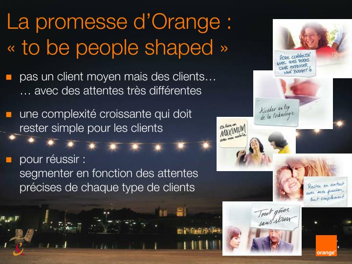 La promesse d'Orange :