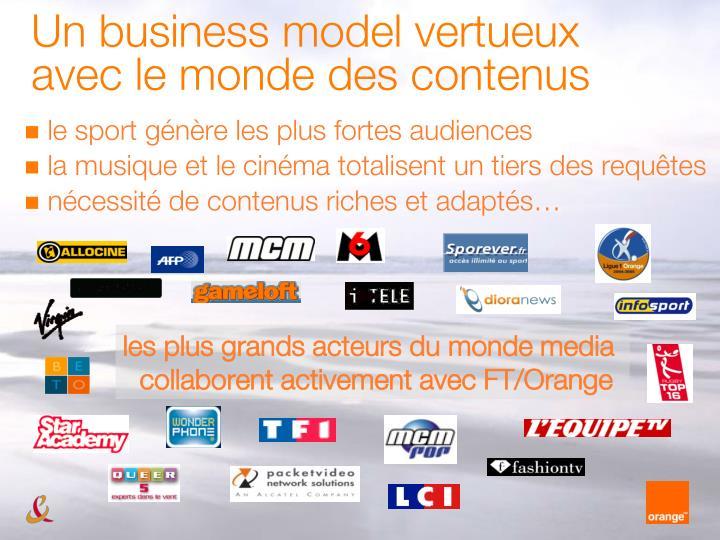 Un business model vertueux avec le monde des contenus