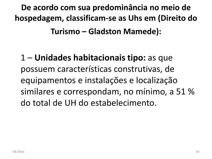 De acordo com sua predominância no meio de hospedagem, classificam-se as Uhs em (Direito do Turismo – Gladston Mamede):