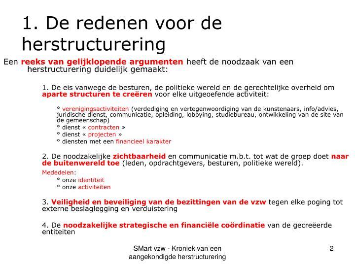 1. De redenen voor de herstructurering