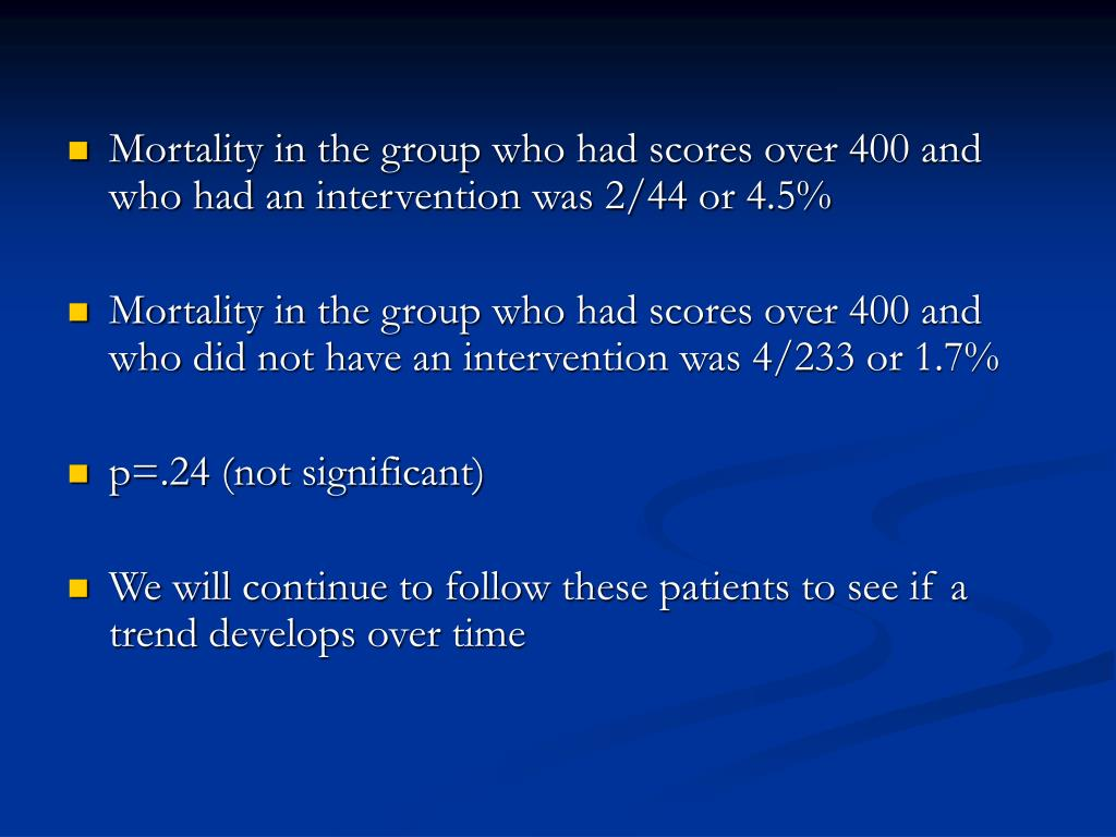 Mortality in the group who had scores over 400 and who had an intervention was 2/44 or 4.5%