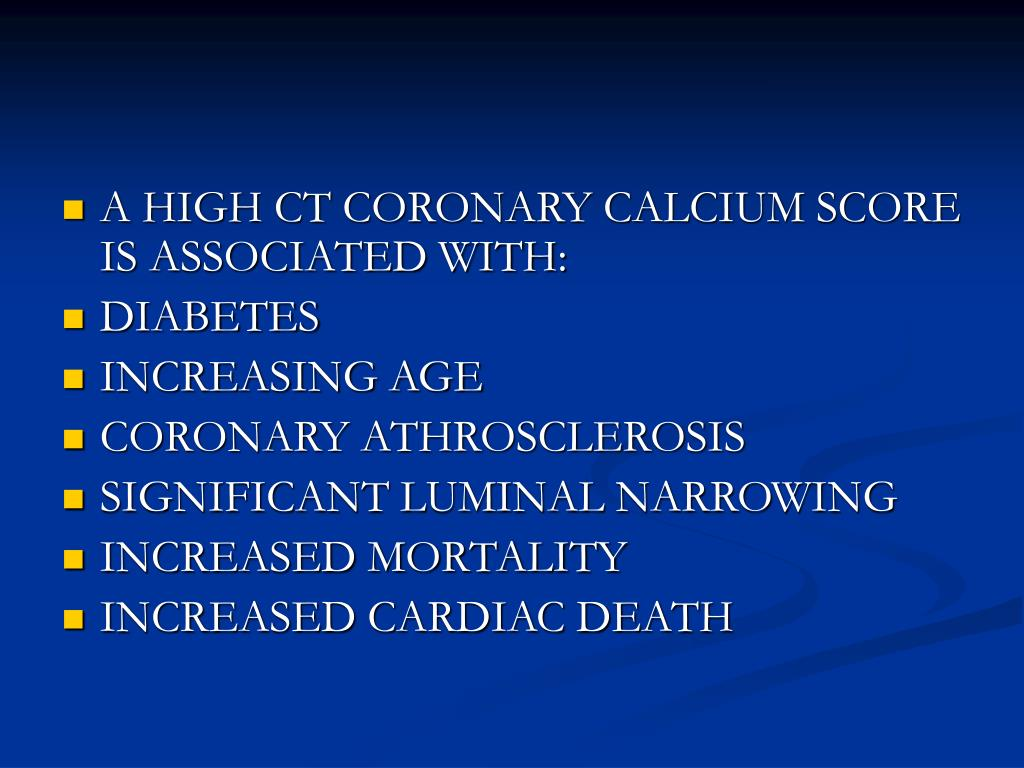 A HIGH CT CORONARY CALCIUM SCORE IS ASSOCIATED WITH: