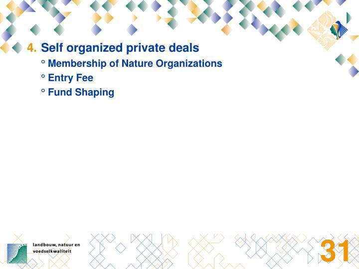 Self organized private deals