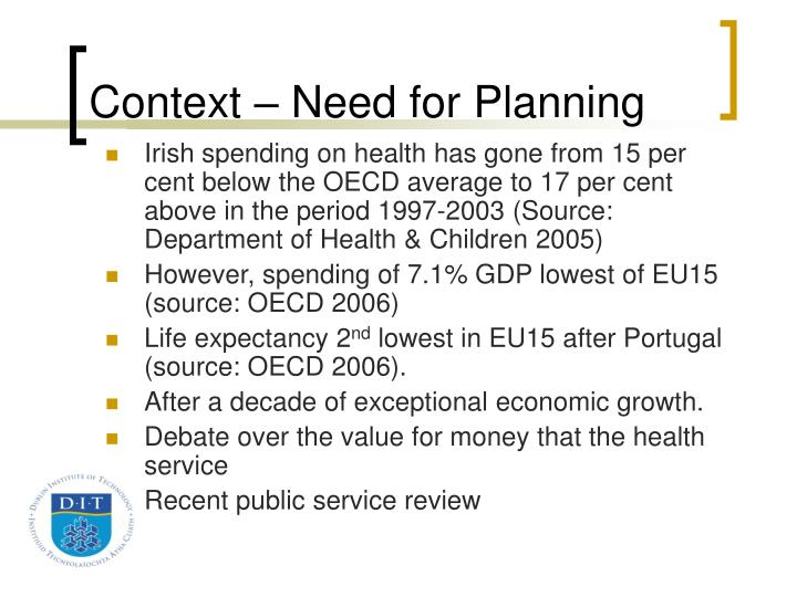 Context – Need for Planning