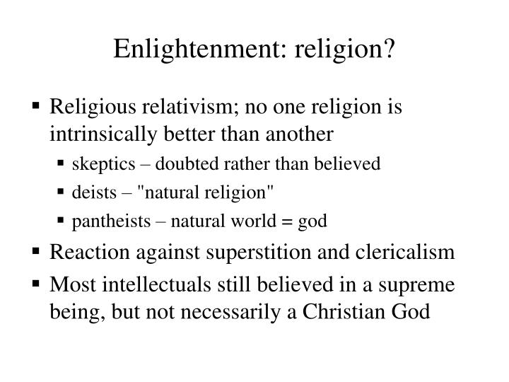 Enlightenment: religion?