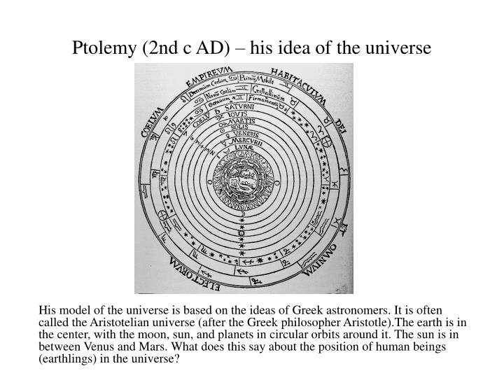 Ptolemy (2nd c AD) – his idea of the universe