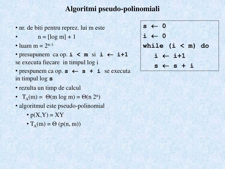 Algoritmi pseudo-polinomiali