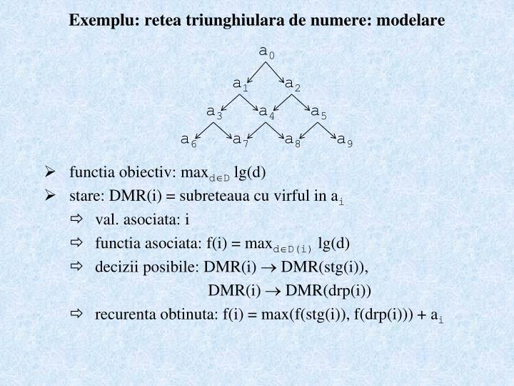 Exemplu: retea triunghiulara de numere: modelare