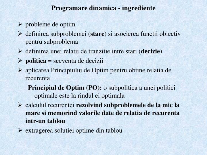 Programare dinamica - ingrediente
