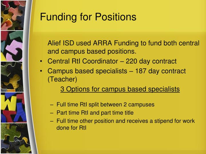 Funding for Positions