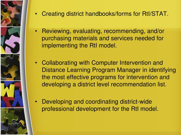 Creating district handbooks/forms for RtI/STAT.