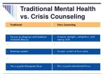 traditional mental health vs crisis counseling